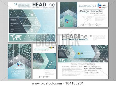 Social media posts set. Business templates. Easy editable abstract flat design template, vector layouts in popular formats. Technology background in geometric style made from circles