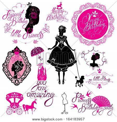 Set of glamour Princess castle carriage black and pink silhouette on white background. Handwritten text Happy Birthday you are amazing etc. Holiday elements for girls card.