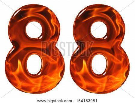 88, Eighty Eight, Numeral, Imitation Glass And A Blazing Fire, Isolated On White Background