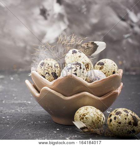Quail eggs in the design of ceramic bowls in the form of broken shell with bird feathers on a dark marble background. selective focus
