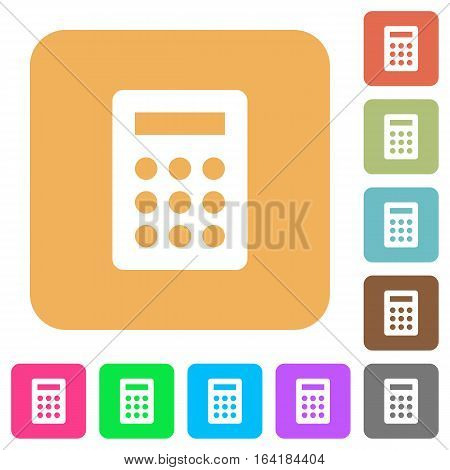Calculator icons on rounded square vivid color backgrounds.