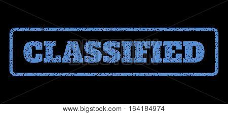 Blue rubber seal stamp with Classified text. Vector tag inside rounded rectangular banner. Grunge design and scratched texture for watermark labels. Horisontal emblem on a black background.