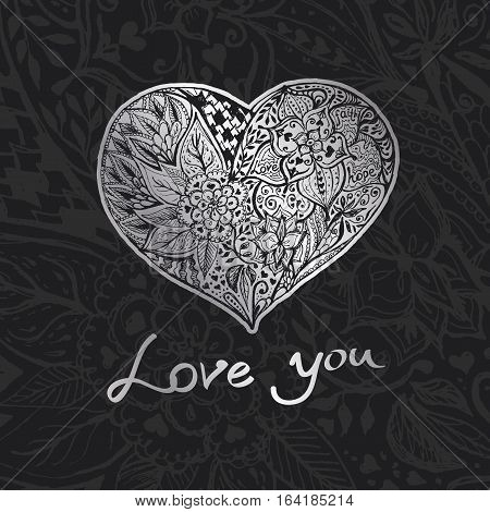 Hand draw romantic silver heart. Doodle sketch with words love-hope-faith for Your design.