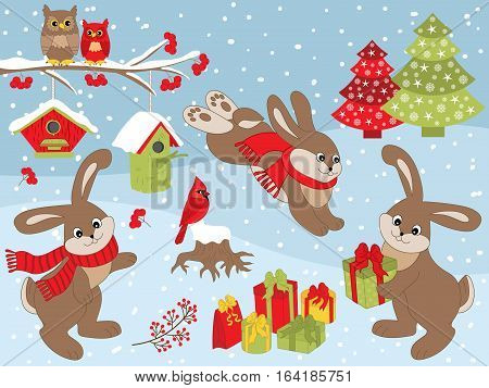 Vector Christmas set with rabbits, cardinal, owls on branch