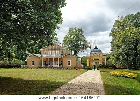 TARKHANI RUSSIA - AUGUST 28 2016: General view at the manor house and church of the Lermontov estate Tarkhani