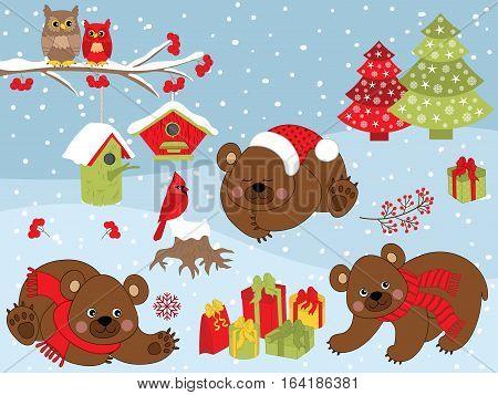 Vector Christmas set with bear, owls on branch, cardinal