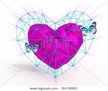 Abstract Heart in low poly style with pink light and blue butterflies on the white background for Happy Valentine's Day celebration. 3D rendering.