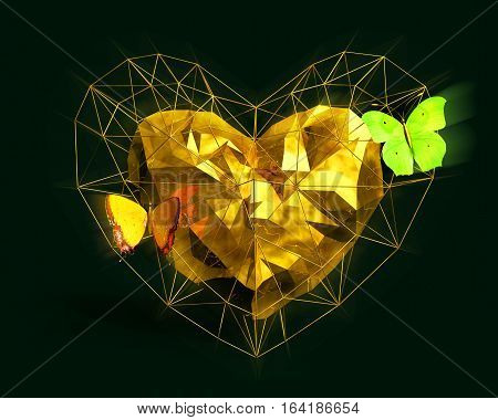 Abstract Heart in low poly style with yellow light and pink butterflies on the dark green background for Happy Valentine's Day celebration. 3D rendering.