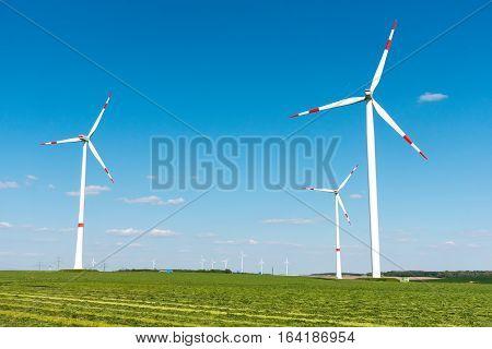 Wind engines in the fields seen in Germany