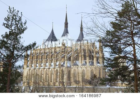St. Barbara cathedral in bohemian town Kutna Hora snow winter