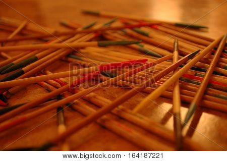 Traditional Pick Up Stick Game Close-Up on Table