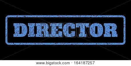 Blue rubber seal stamp with Director text. Vector tag inside rounded rectangular frame. Grunge design and scratched texture for watermark labels. Horisontal sticker on a black background.