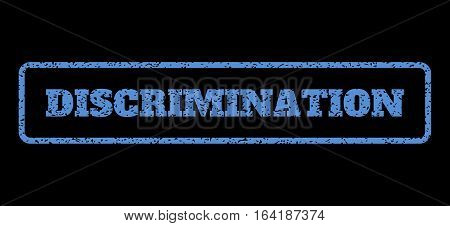 Blue rubber seal stamp with Discrimination text. Vector caption inside rounded rectangular shape. Grunge design and unclean texture for watermark labels. Horisontal emblem on a black background.
