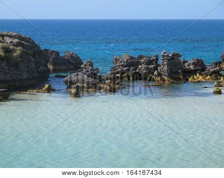 Coastal rock pool on a Carribean beach