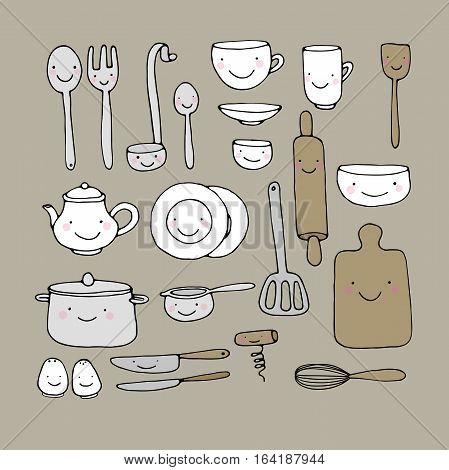 A set of kitchen utensils. Hand drawing isolated objects on white background. Vector illustration.