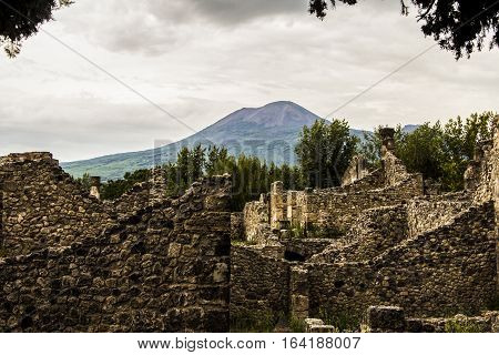 Pompeii city destroyed in 79BC by the eruption of Mount Vesuvius. The antique ruins and the vulcano near Naples, Italy