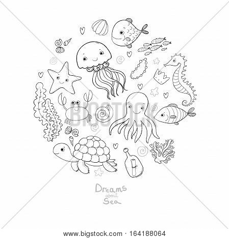Marine illustrations set. Little cute cartoon funny fish, starfish, bottle with a note, algae, various shells and crab. Sea theme. isolated objects on white background. Vector.