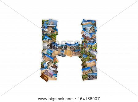 Letter H uppercase font shape alphabet collage made of my best landscape photographs. Version 3.