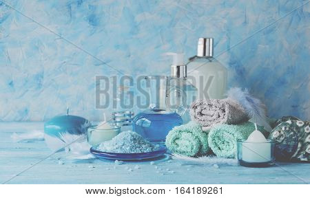 Set For Spa With Towels, Salt And Aromatic Oils, Selective Focus