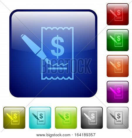 Signing Dollar cheque icons in rounded square color glossy button set