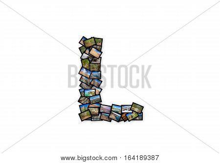Letter L uppercase font shape alphabet collage made of my best landscape photographs. Version 2.