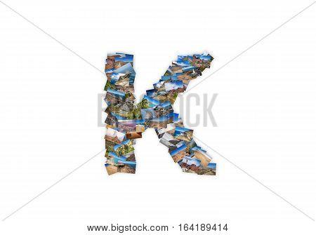 Letter K uppercase font shape alphabet collage made of my best landscape photographs. Version 3.