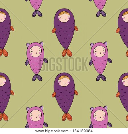 Seamless pattern with magic cute fish. Girl and kitten.Vector illustration for children design. Beautiful mermaid