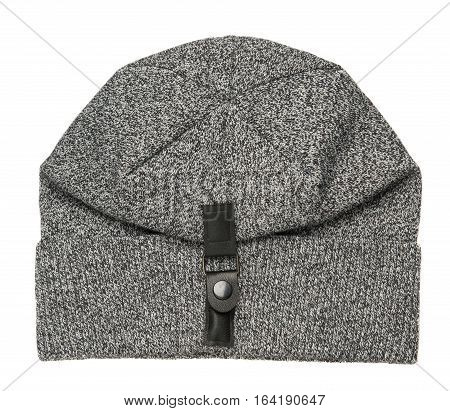 Hat Isolated On White Background .knitted Hat .light Gray Hat .