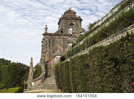 CAXIAS, PORTUGAL - October 26, 2016: View of the monumental cascade of the Royal Gardens of Caxias Portugal