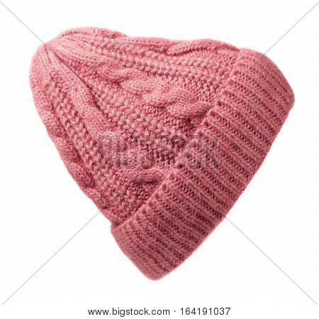 Women's Hat . Knitted Hat Isolated On White Background.pink Hat .