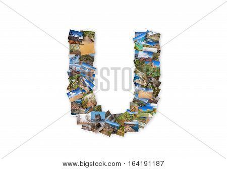 Letter U uppercase font shape alphabet collage made of my best landscape photographs. Version 3.