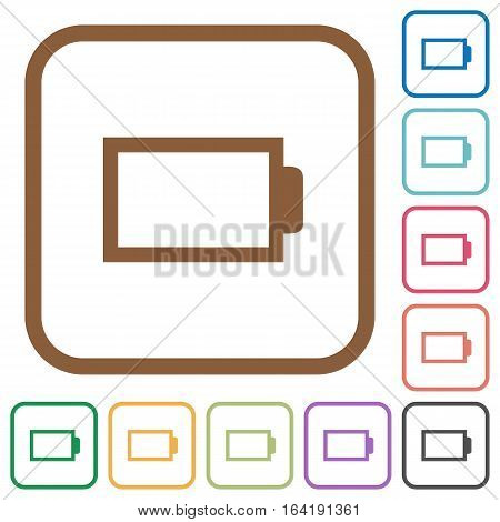 Empty battery without load units. Simple icons in color rounded square frames on white background.