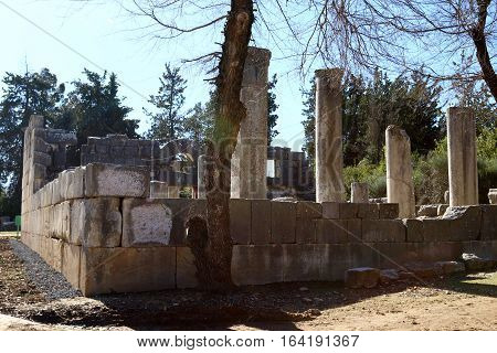 The ancient synagogue in Baram National Park, the Roman-Byzantine period, refer to the II century BC. e.