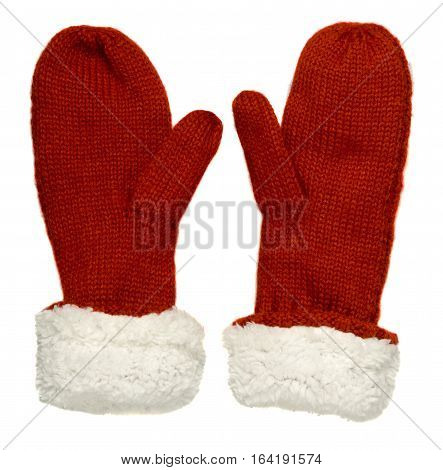 Mittens Isolated On White Background. Knitted Mittens. Mittens Top View.red White Mittens .