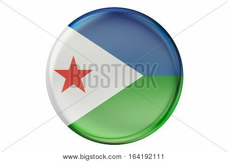 Badge with flag of Djibouti 3D rendering isolated on white background