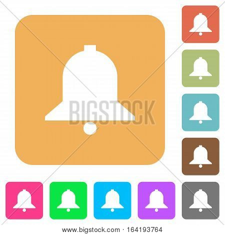 Bell flat icons on rounded square vivid color backgrounds.