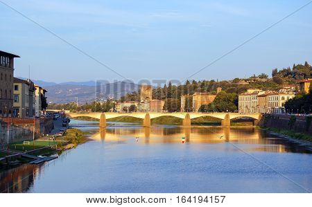 Pontealle Grazie over the Arno River in Florence