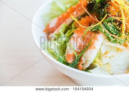 Shrimp salad in a white bowl Japanese food style