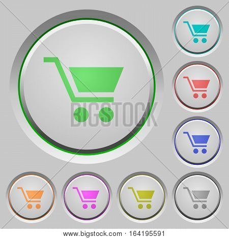 Empty shopping cart color icons on sunk push buttons