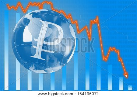 Graphic Of Degressive Course Of Ruble. .financial Chart Of Currency Value