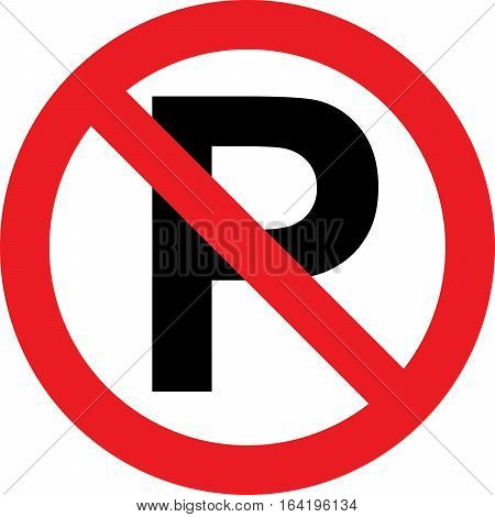 No parking traffic sign on white background