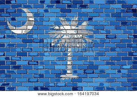 Flag of South Carolina on a brick wall with effect - 3D Illustration,  The flag of the state of South Carolina on brick textured background,  South Carolina Flag in brick style