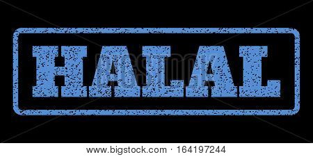 Blue rubber seal stamp with Halal text. Vector caption inside rounded rectangular shape. Grunge design and dust texture for watermark labels. Horisontal sticker on a black background.