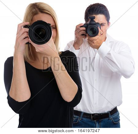 Photographers Team Photographer Young Trainee Photography Photos Camera Occupation Hobby Isolated
