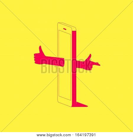 Smartphone with thumbs up hand sticking out of the screen and crossed fingers hand on back side of the phone. Social media dishonesty concept illustration.