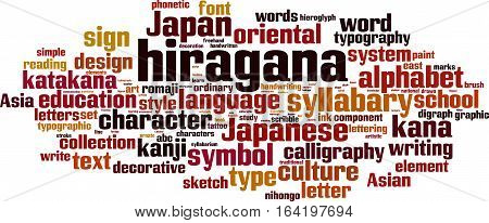 Hiragana word cloud concept. Vector illustration on white