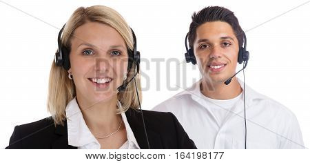 Call Center Agent Team Headset Telephone Phone Secretary Business Portrait Isolated