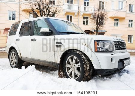 Saint-Petersburg, Russia - November 12, 2016: Range Rover Land Rover parked in winter street.