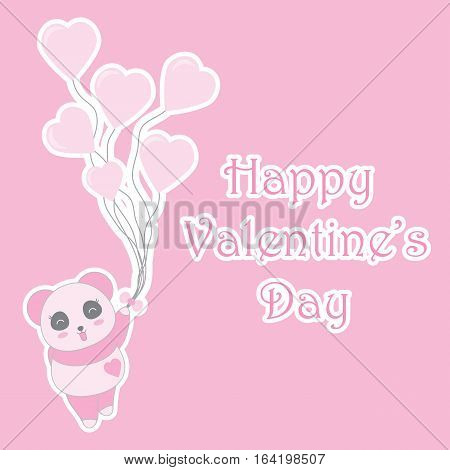 Valentine's day illustration with cute baby pink panda brings balloons suitable for Valentine's day invitation card, greeting card, and postcard