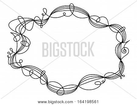 Single swing thread frame. Decorative ornament and border for text and images. One line going five times around shaping an ellipse like a wire sculpture. Black illustration on white background. Vector